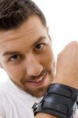 Close up of man with a band tied on hand — Stock Photo