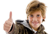 Front view of cheer kid with thumbs up — Stock Photo