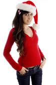 Sombrero de navidad usando joven — Foto de Stock