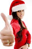 Ung kvinna med jul hatt — Stockfoto
