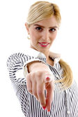 Businesswoman pointing at camera — Stock Photo