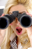 Shocked female with binoculars — Stock Photo