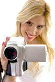 Happy woman with handy cam — Stok fotoğraf