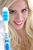 Female conscious of dental health — Stock Photo