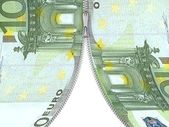 3d dollar note with zipper — Stock Photo