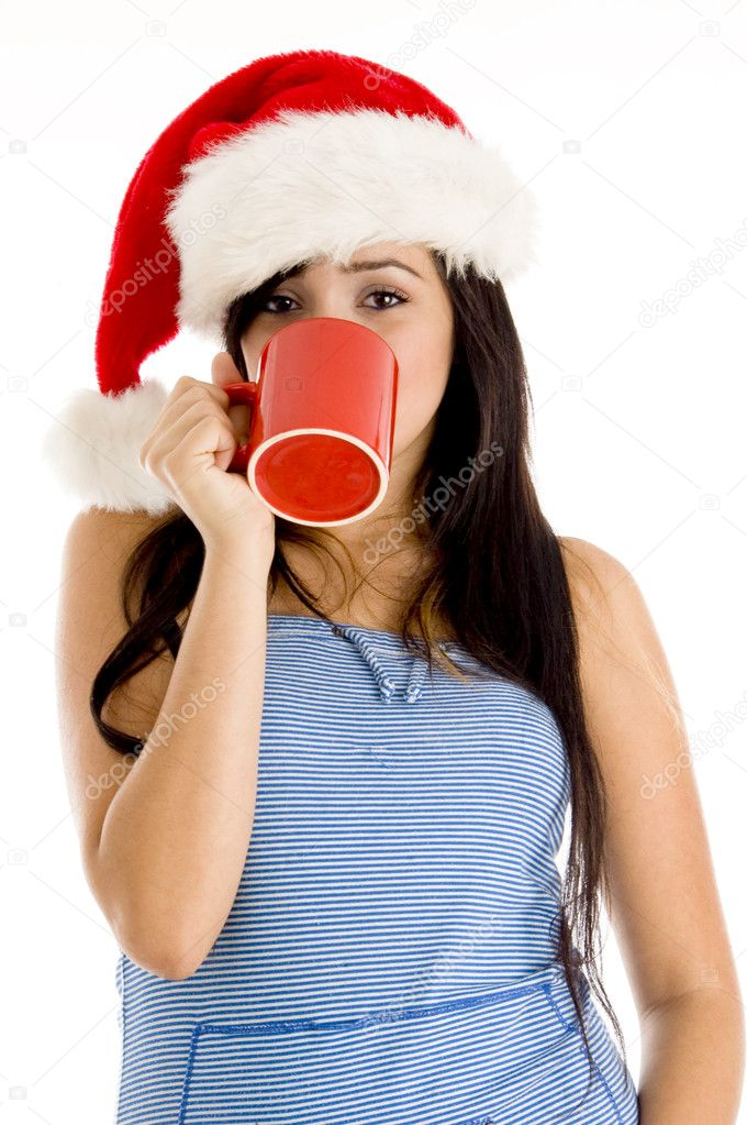 Santa Drinking Coffee Hat And Drinking Coffee on