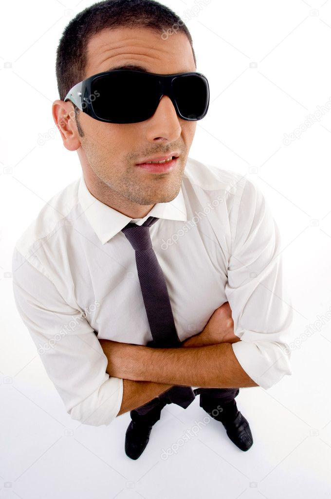 Guy With Sunglasses  high angle view of guy with sunglasses stock photo