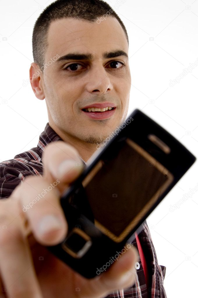 Man showing cell phone with white background  Stock Photo #1674293