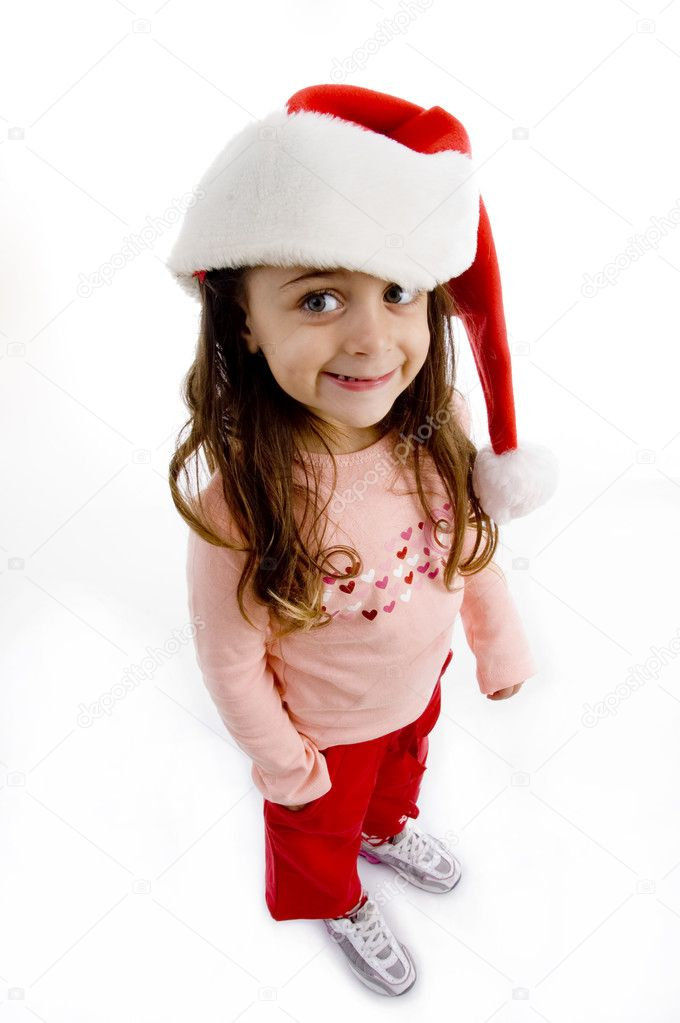 Little girl wearing christmas hat with white background — Stockfoto #1674434