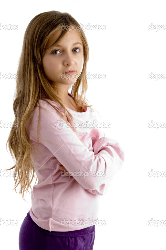 Girl with folded arms looking at camera on white background — Stock Photo #1674520