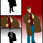 Постер, плакат: Illustration of man holding coat