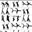Modern jumping dancers — Stock Photo