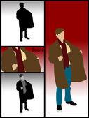 Illustration of man holding coat — Stock Photo