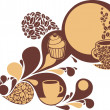 Stock Vector: Coffee and cakes