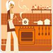Beautiful housewife — Stock Vector