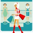 Shopping girl — Stock Vector