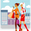 Shopping girls — Stock Vector #2262991