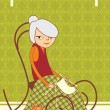 Royalty-Free Stock Vector Image: Old lady knitting