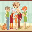 Stock Vector: Cartoon family portrait