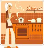 Prachtige huisvrouw — Stok Vektör