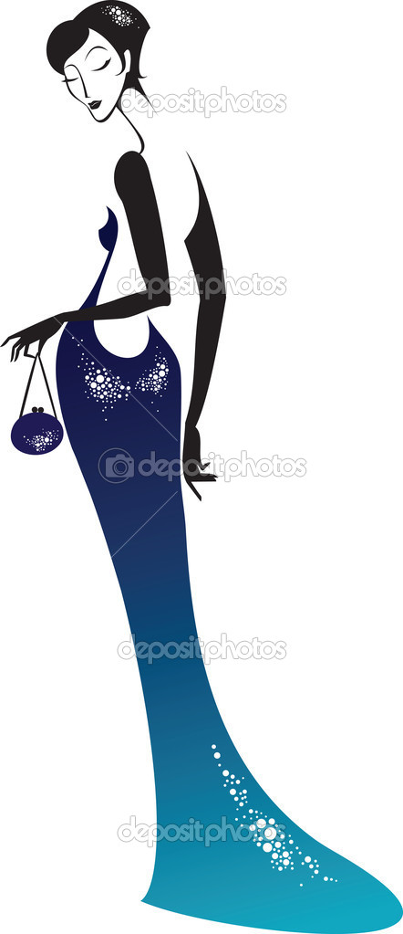 Beautiful lady wearing evening gown — Stock Vector #2263040