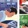 DJ — Stock Vector