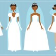 Four brides wearing wedding dresses — Stock Vector