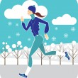 Stock Vector: Jogging in winter