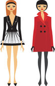 Fashionably dressed girls — Stock Vector