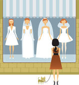 Wedding dress salon — Stock Vector