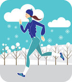 Jogging in winter — Stock Vector