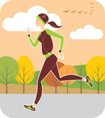 Jogging in autumn — Stock Vector