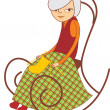 Old lady knitting — Stock Vector