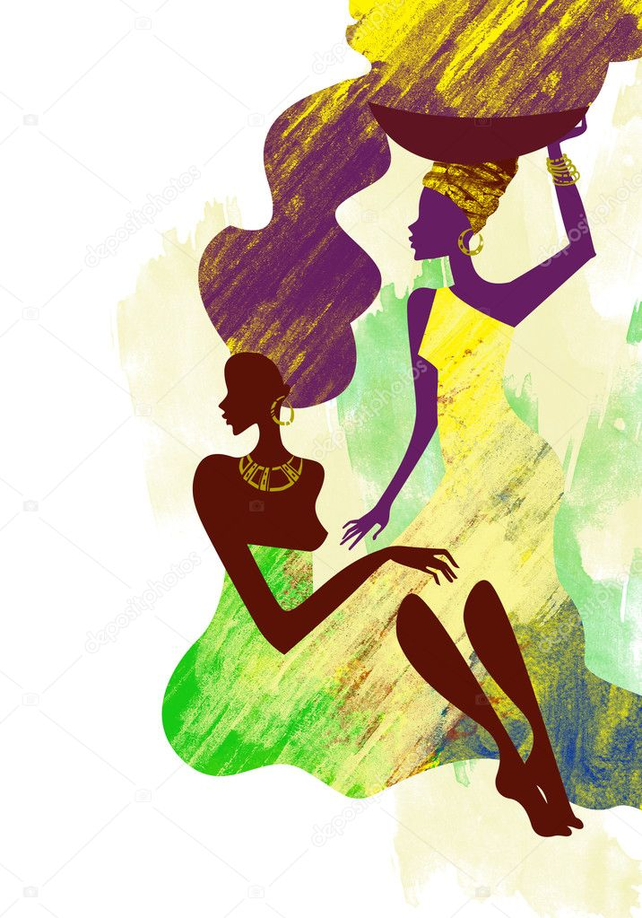 Watercolor painting of two African women — Stock Photo #2416618