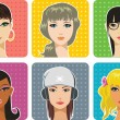 Stock Vector: Female portraits