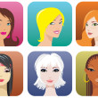 Female portraits — Stock Vector