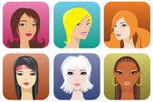 Female portraits — Stock Vector