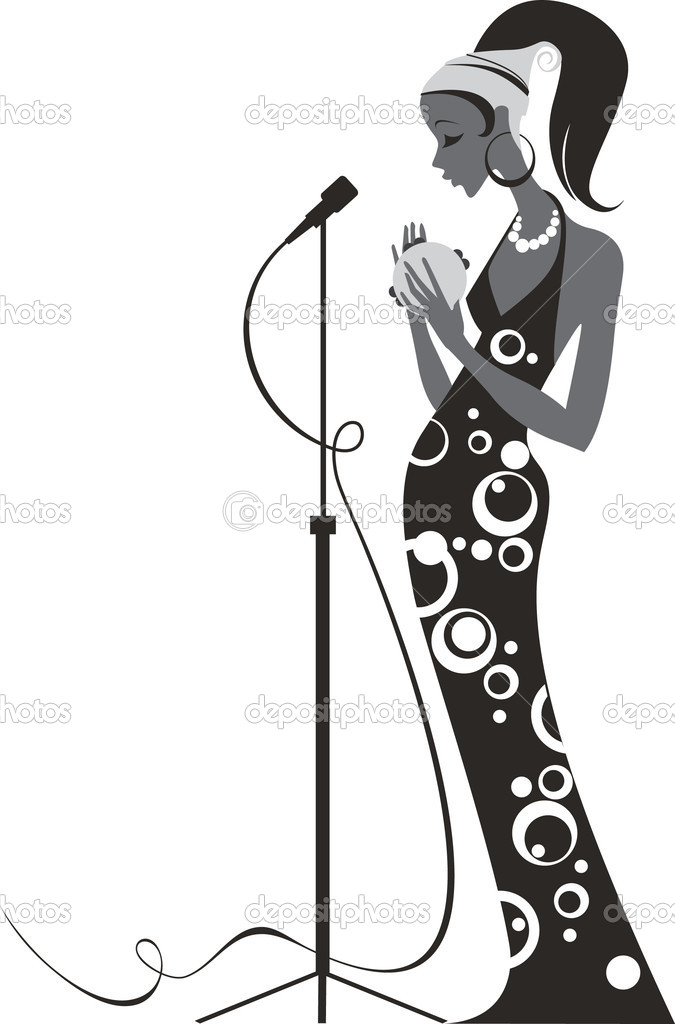 Jazz diva on a stage — Stock Vector #2438277