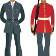 Cute British Officers — Stock Vector