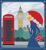 Rain in London — Stock Vector