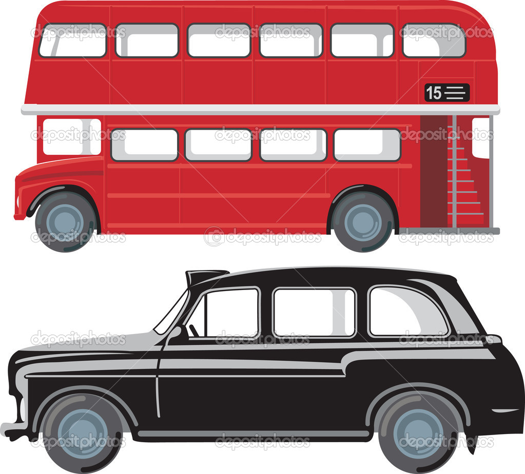 London doubledecker red bus and traditional taxi cab — Stock Vector #2462010