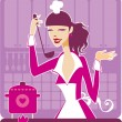 Beautiful girl cooking - Stock Vector