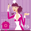 Royalty-Free Stock Vector Image: Beautiful girl cooking