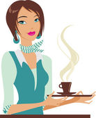 Girl with cup of coffee — Stock Vector