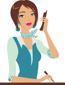 Girl with the phone — Stock Vector