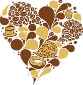 Coffee heart — Stock Vector