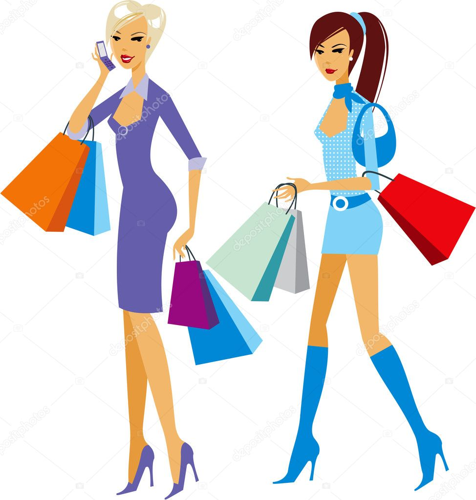 Shopping girls  — Stock Vector #2483323