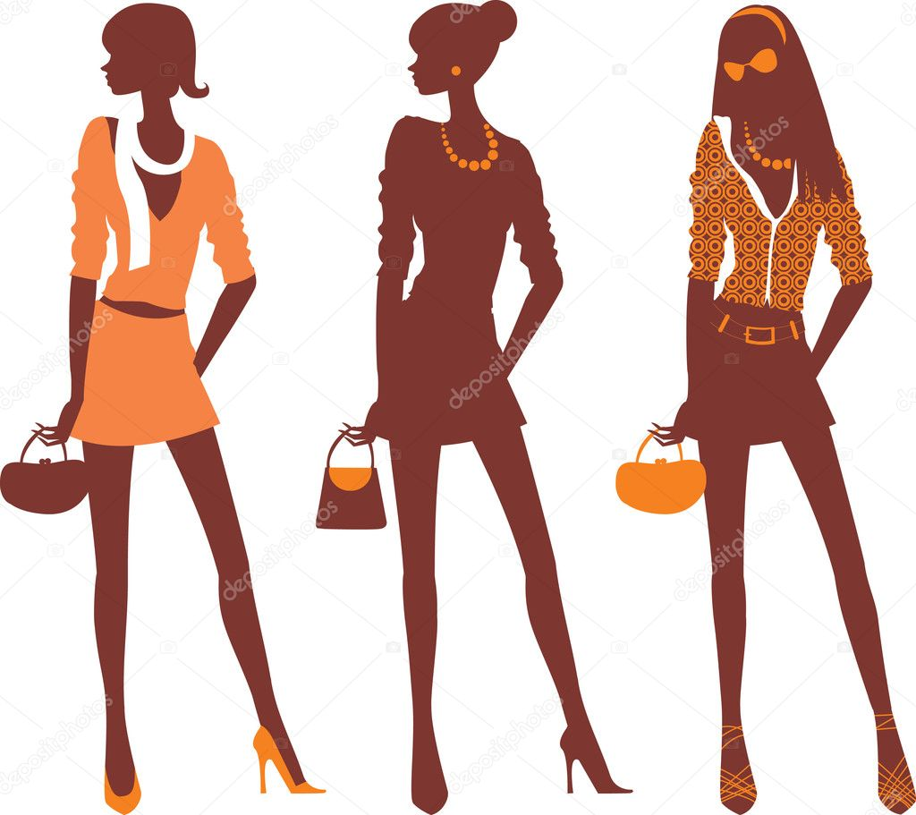Fashionable female silhouettes — Stock Vector #2483337