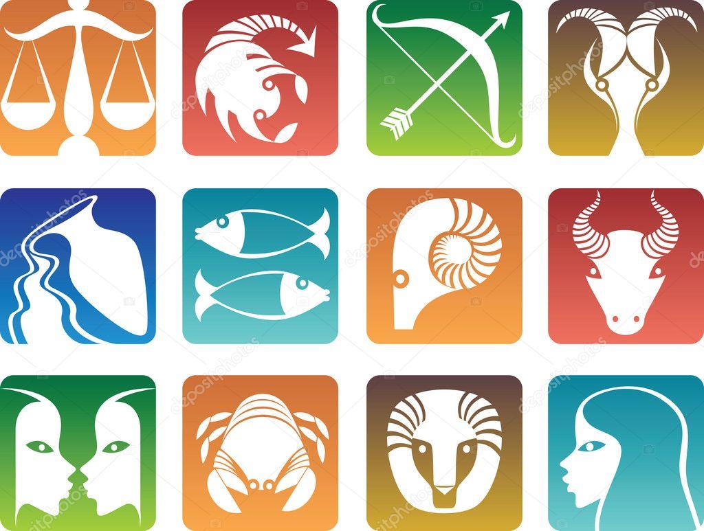 Znak Zodiaku Koziorożec Znak Zodiaku Kolorowe Ikony