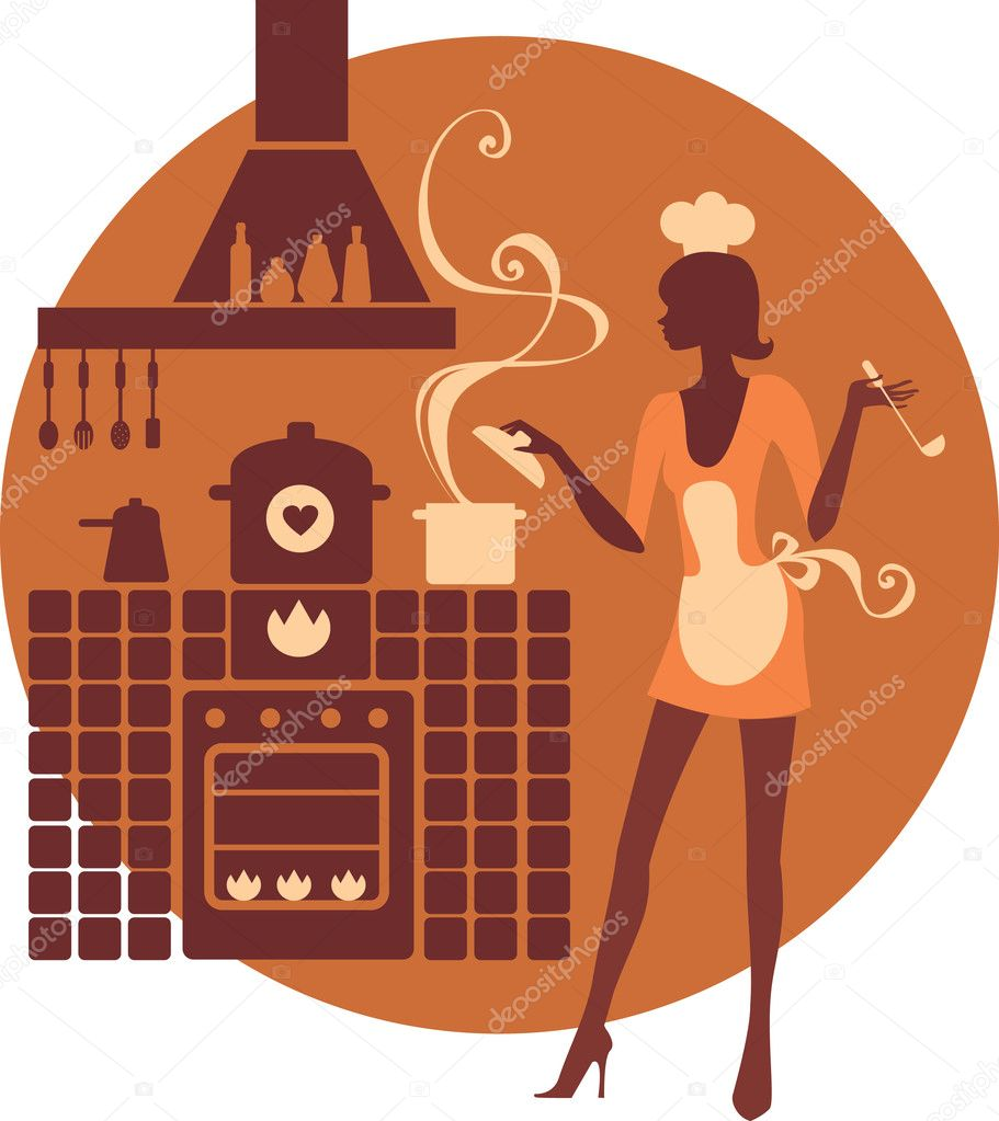 Beautiful girl cooking   Stock Vector #2483915